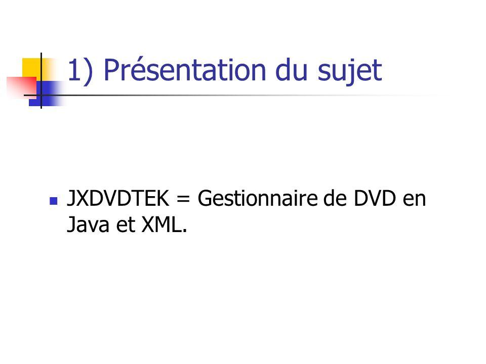 1) Présentation du sujet JXDVDTEK = Gestionnaire de DVD en Java et XML.