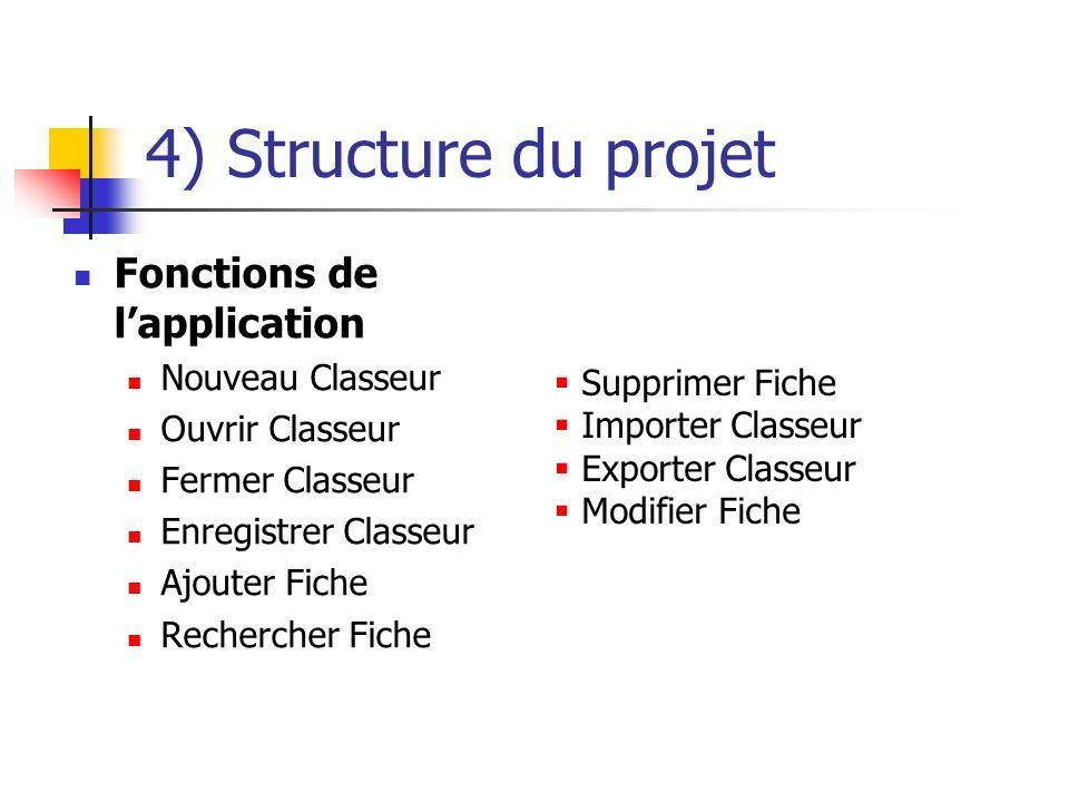 4) Structure du projet Fonctions de lapplication Nouveau Classeur Ouvrir Classeur Fermer Classeur Enregistrer Classeur Ajouter Fiche Rechercher Fiche