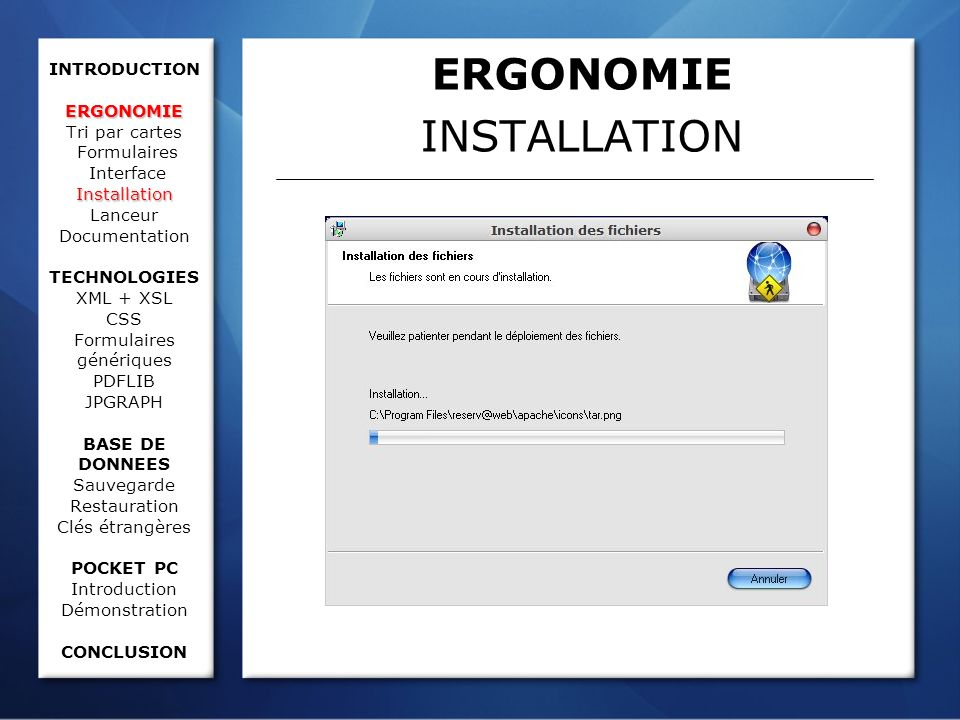 ERGONOMIE Installation INTRODUCTION ERGONOMIE Tri par cartes Formulaires Interface Installation Lanceur Documentation TECHNOLOGIES XML + XSL CSS Formu