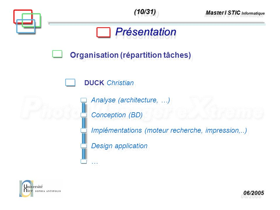 06/200506/2005 Master I STIC Informatique PrésentationPrésentation Organisation (répartition tâches) DUCK Christian Analyse (architecture, …) Concepti