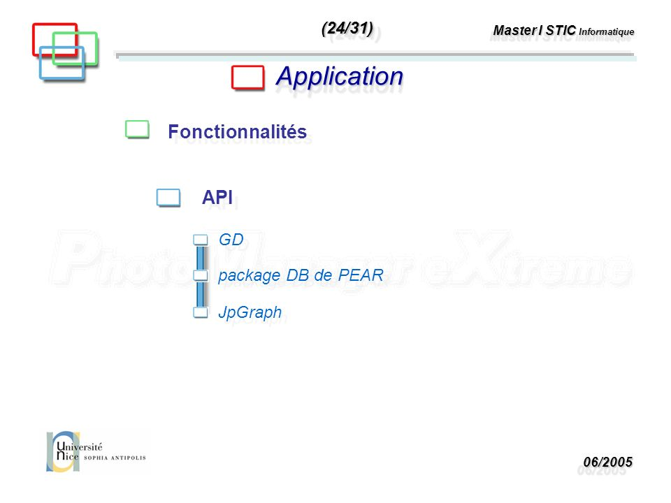 06/200506/2005 Master I STIC Informatique ApplicationApplication Fonctionnalités API GD package DB de PEAR JpGraph (24/31)(24/31)