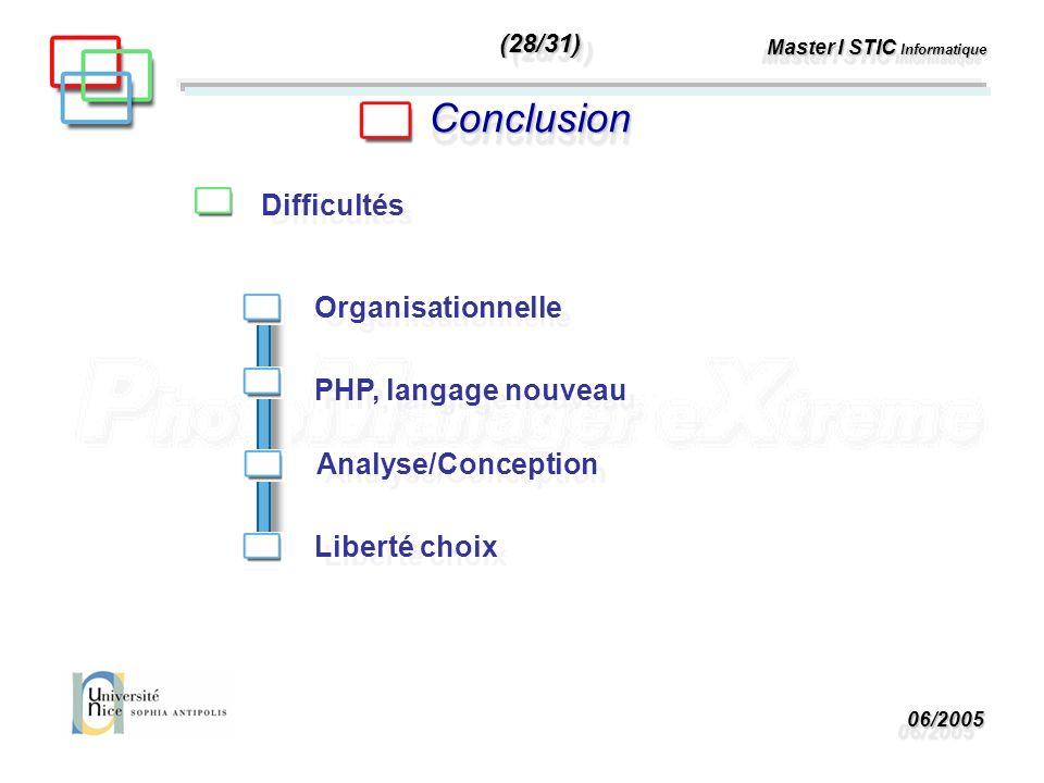 06/200506/2005 Master I STIC Informatique ConclusionConclusion Difficultés PHP, langage nouveau Analyse/Conception Organisationnelle Liberté choix (28/31)(28/31)