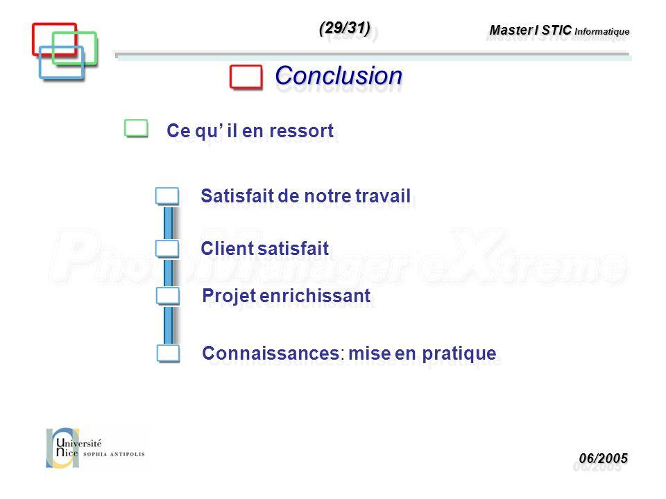 06/200506/2005 Master I STIC Informatique ConclusionConclusion Ce qu il en ressort Client satisfait Satisfait de notre travail Projet enrichissant Connaissances: mise en pratique (29/31)(29/31)