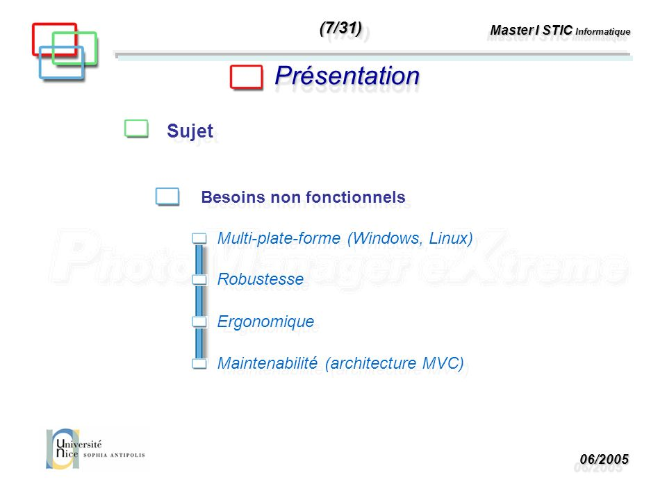 06/200506/2005 Master I STIC Informatique PrésentationPrésentation Sujet Besoins non fonctionnels Multi-plate-forme (Windows, Linux) Robustesse Ergonomique Maintenabilité (architecture MVC) (7/31)(7/31)