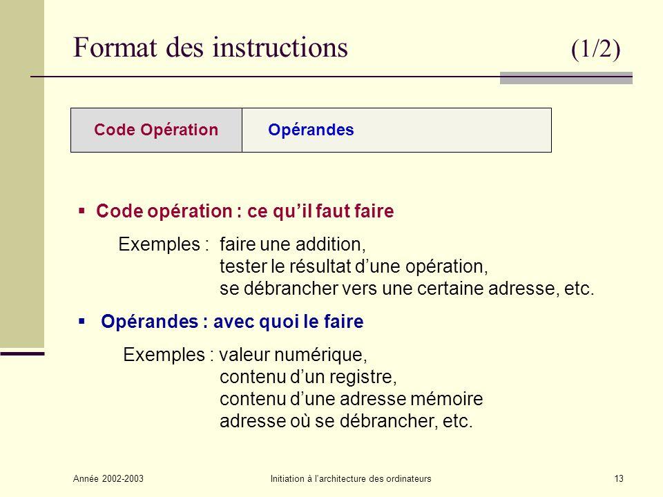 Année 2002-2003Initiation à l architecture des ordinateurs13 Format des instructions (1/2) OpérandesCode Opération Code opération : ce quil faut faire Exemples : faire une addition, tester le résultat dune opération, se débrancher vers une certaine adresse, etc.
