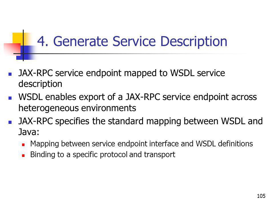 105 4. Generate Service Description JAX-RPC service endpoint mapped to WSDL service description WSDL enables export of a JAX-RPC service endpoint acro