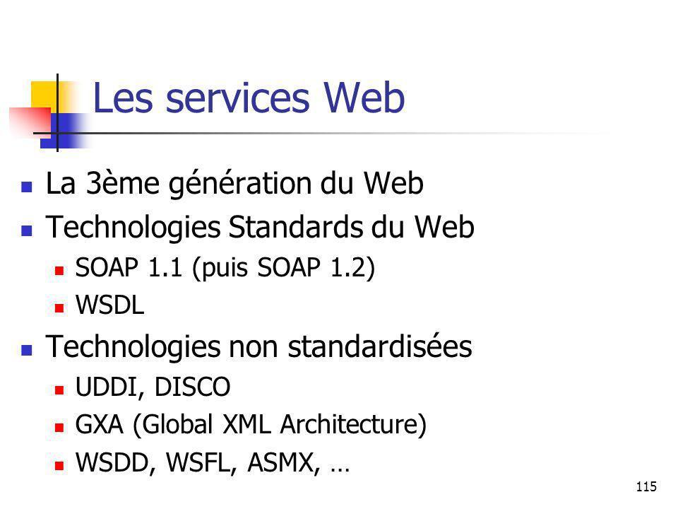 115 Les services Web La 3ème génération du Web Technologies Standards du Web SOAP 1.1 (puis SOAP 1.2) WSDL Technologies non standardisées UDDI, DISCO