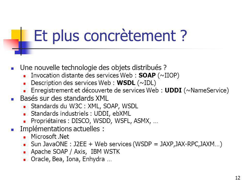 12 Et plus concrètement ? Une nouvelle technologie des objets distribués ? Invocation distante des services Web : SOAP (~IIOP) Description des service