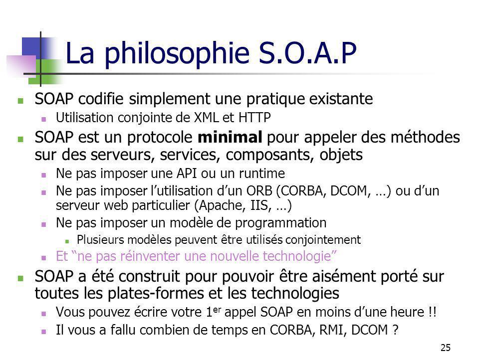 25 La philosophie S.O.A.P SOAP codifie simplement une pratique existante Utilisation conjointe de XML et HTTP SOAP est un protocole minimal pour appel