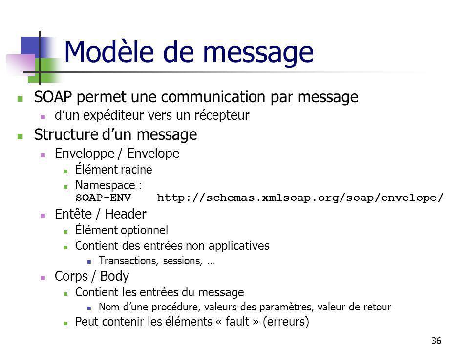 36 Modèle de message SOAP permet une communication par message dun expéditeur vers un récepteur Structure dun message Enveloppe / Envelope Élément racine Namespace : SOAP-ENVhttp://schemas.xmlsoap.org/soap/envelope/ Entête / Header Élément optionnel Contient des entrées non applicatives Transactions, sessions, … Corps / Body Contient les entrées du message Nom dune procédure, valeurs des paramètres, valeur de retour Peut contenir les éléments « fault » (erreurs)