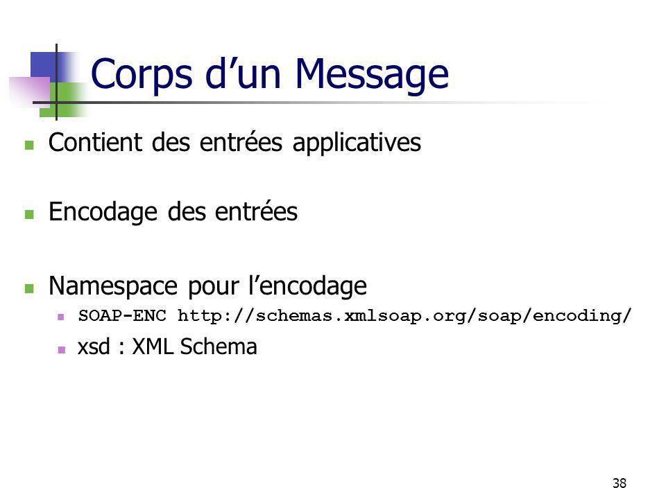 38 Corps dun Message Contient des entrées applicatives Encodage des entrées Namespace pour lencodage SOAP-ENC http://schemas.xmlsoap.org/soap/encoding