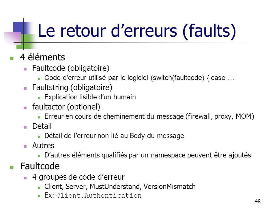 48 Le retour derreurs (faults) 4 éléments Faultcode (obligatoire) Code derreur utilisé par le logiciel (switch(faultcode) { case … Faultstring (obliga