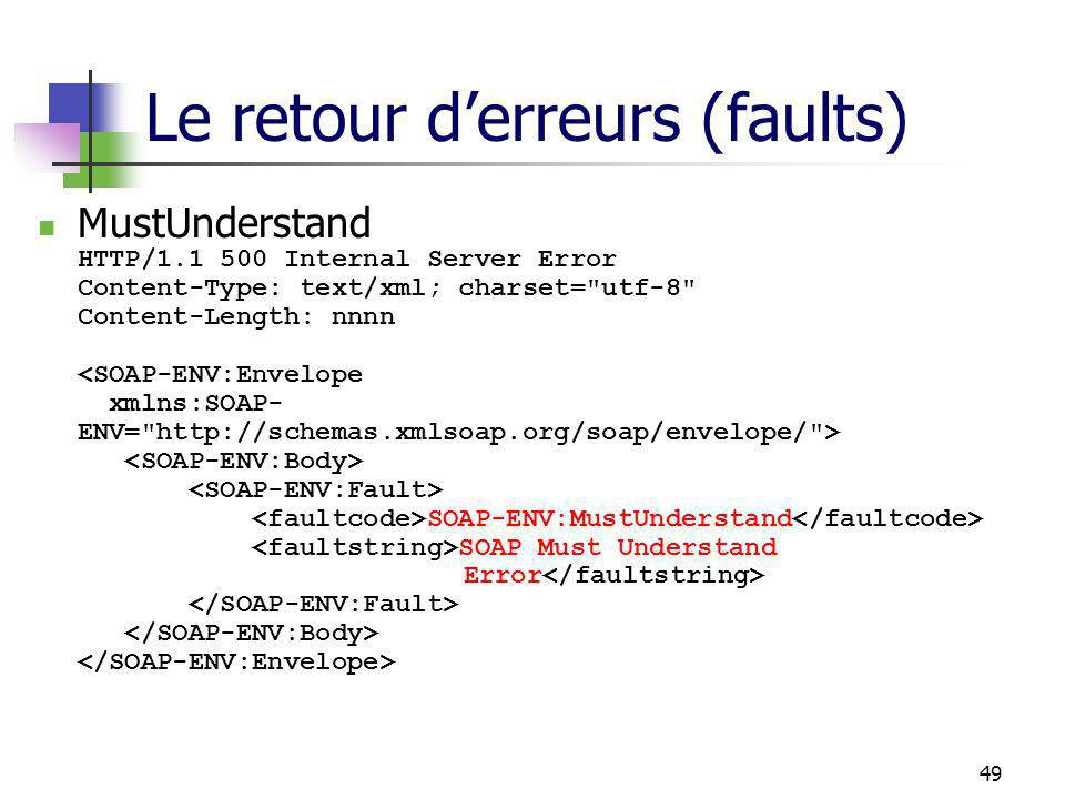 49 Le retour derreurs (faults) MustUnderstand HTTP/1.1 500 Internal Server Error Content-Type: text/xml; charset=