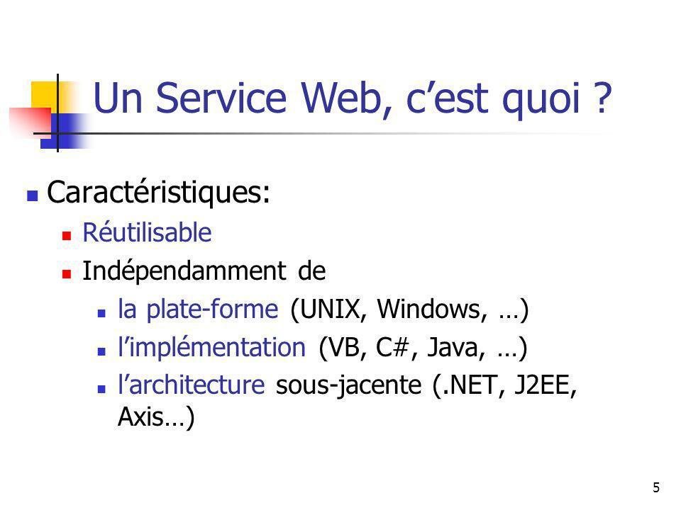 5 Caractéristiques: Réutilisable Indépendamment de la plate-forme (UNIX, Windows, …) limplémentation (VB, C#, Java, …) larchitecture sous-jacente (.NET, J2EE, Axis…) Un Service Web, cest quoi ?