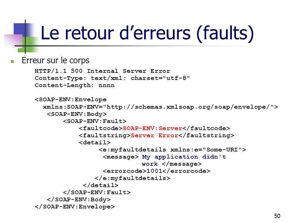 50 Le retour derreurs (faults) Erreur sur le corps HTTP/1.1 500 Internal Server Error Content-Type: text/xml; charset= utf-8 Content-Length: nnnn SOAP-ENV:Server Server Error My application didn t work 1001