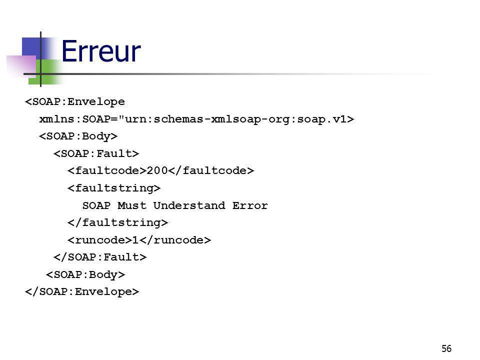 56 Erreur <SOAP:Envelope xmlns:SOAP= urn:schemas-xmlsoap-org:soap.v1> 200 SOAP Must Understand Error 1