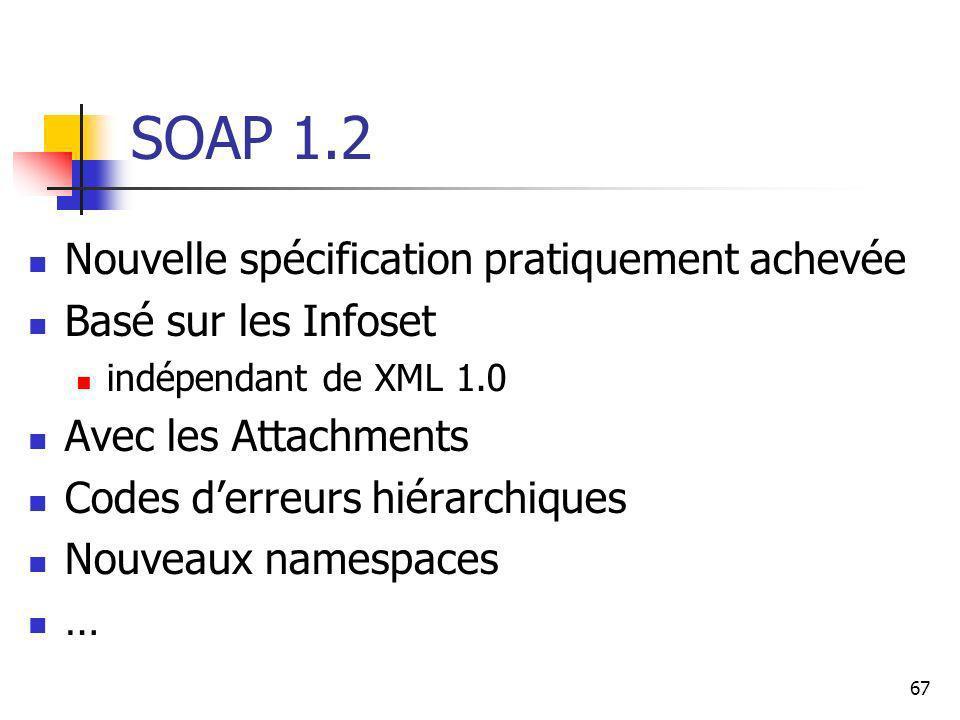 67 SOAP 1.2 Nouvelle spécification pratiquement achevée Basé sur les Infoset indépendant de XML 1.0 Avec les Attachments Codes derreurs hiérarchiques Nouveaux namespaces …