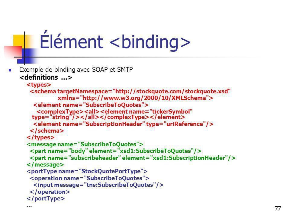 77 Élément Exemple de binding avec SOAP et SMTP <schema targetNamespace= http://stockquote.com/stockquote.xsd xmlns= http://www.w3.org/2000/10/XMLSchema > …