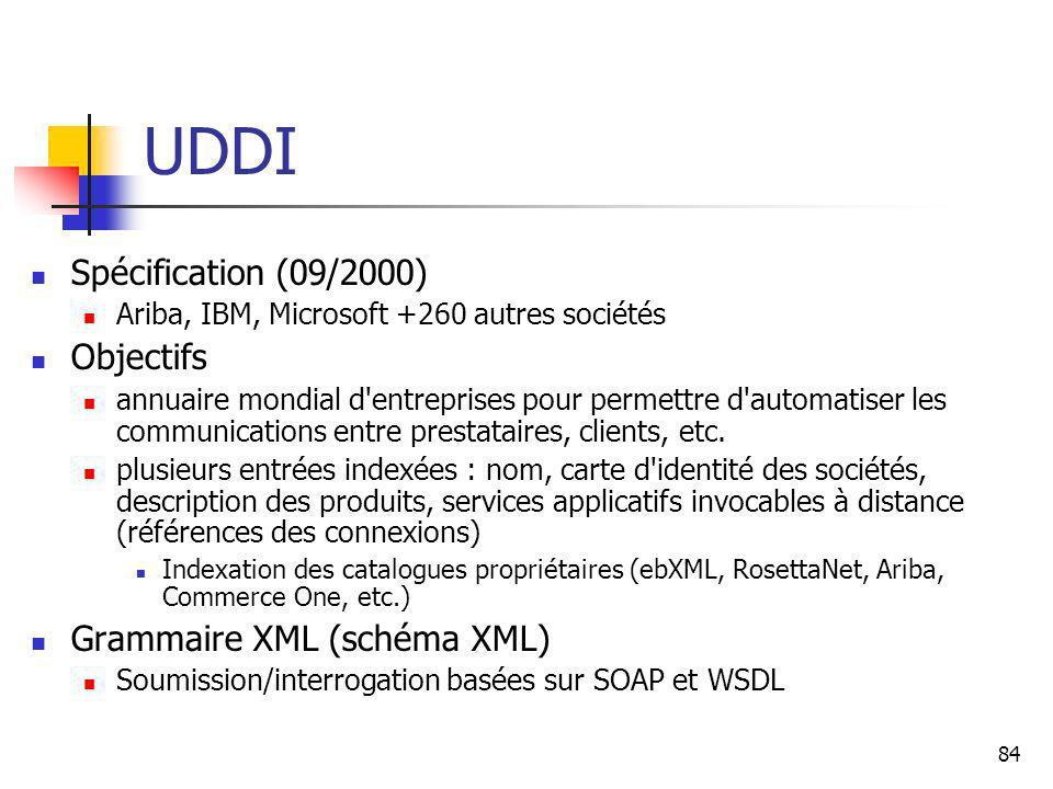 84 UDDI Spécification (09/2000) Ariba, IBM, Microsoft +260 autres sociétés Objectifs annuaire mondial d entreprises pour permettre d automatiser les communications entre prestataires, clients, etc.