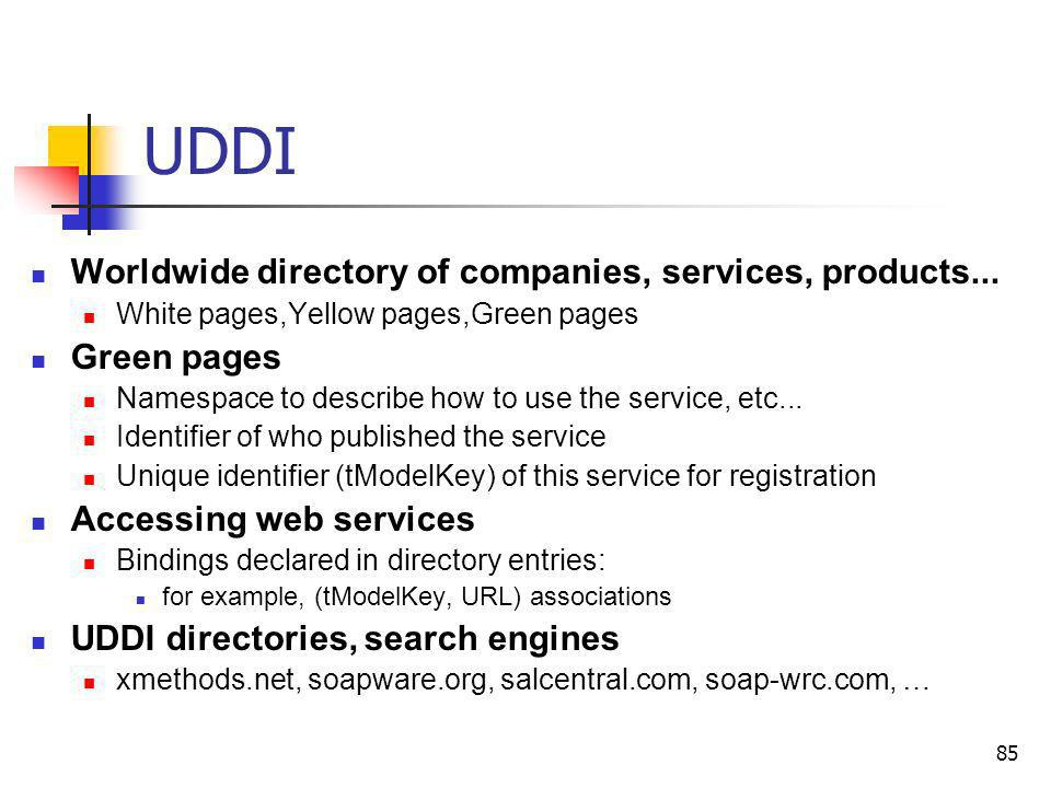 85 UDDI Worldwide directory of companies, services, products... White pages,Yellow pages,Green pages Green pages Namespace to describe how to use the