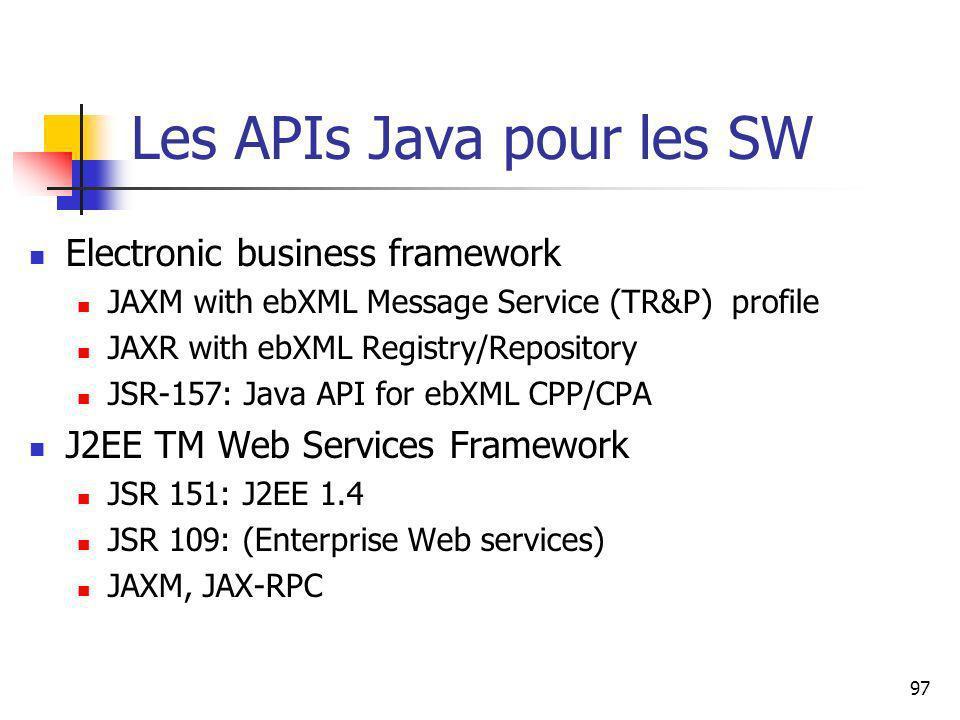 97 Les APIs Java pour les SW Electronic business framework JAXM with ebXML Message Service (TR&P) profile JAXR with ebXML Registry/Repository JSR-157: