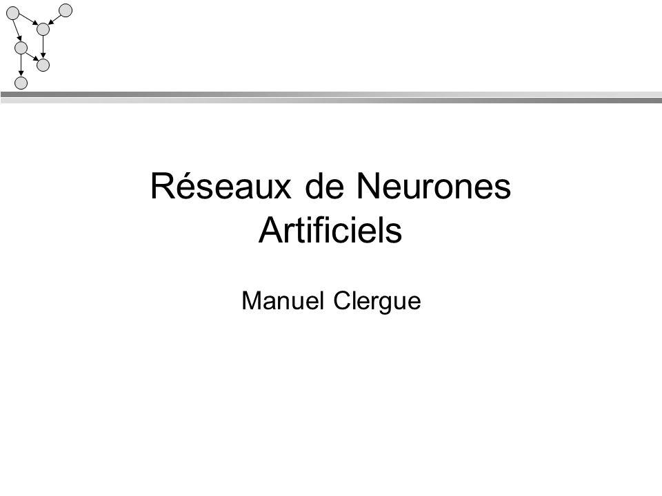 Réseaux de Neurones Artificiels Manuel Clergue