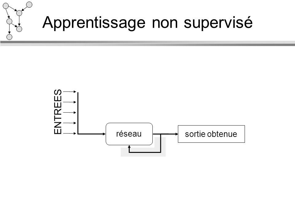 Apprentissage non supervisé réseau sortie obtenue ENTREES
