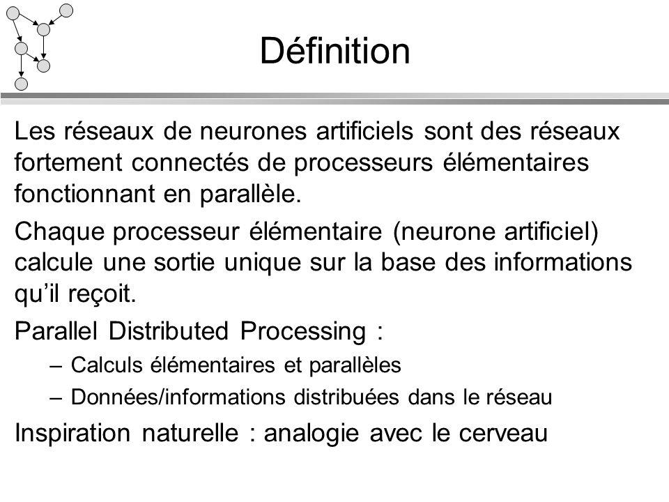 Définition Les réseaux de neurones artificiels sont des réseaux fortement connectés de processeurs élémentaires fonctionnant en parallèle. Chaque proc