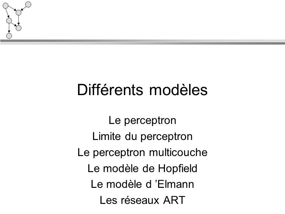 Différents modèles Le perceptron Limite du perceptron Le perceptron multicouche Le modèle de Hopfield Le modèle d Elmann Les réseaux ART