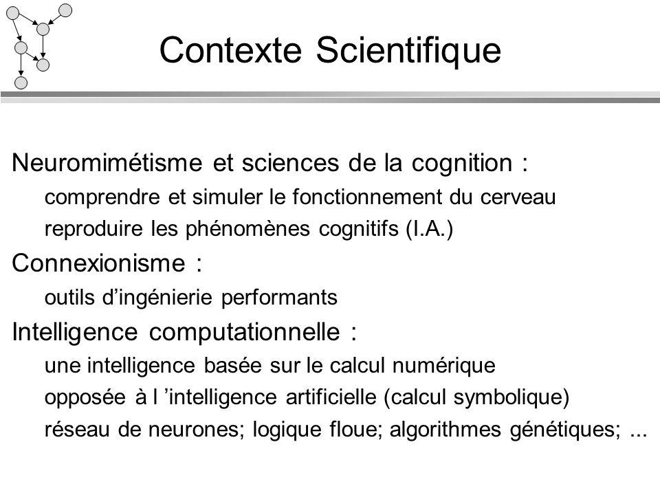 Contexte Scientifique Neuromimétisme et sciences de la cognition : comprendre et simuler le fonctionnement du cerveau reproduire les phénomènes cognit