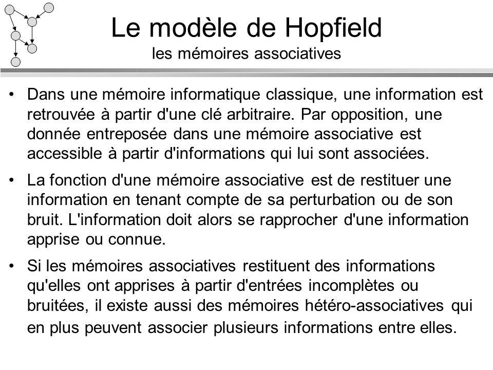 Le modèle de Hopfield les mémoires associatives Dans une mémoire informatique classique, une information est retrouvée à partir d'une clé arbitraire.