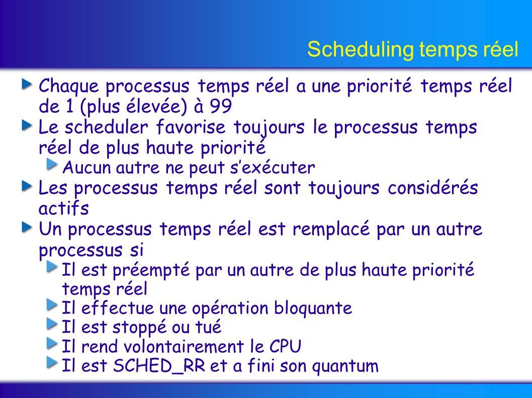 Scheduling temps réel Chaque processus temps réel a une priorité temps réel de 1 (plus élevée) à 99 Le scheduler favorise toujours le processus temps réel de plus haute priorité Aucun autre ne peut sexécuter Les processus temps réel sont toujours considérés actifs Un processus temps réel est remplacé par un autre processus si Il est préempté par un autre de plus haute priorité temps réel Il effectue une opération bloquante Il est stoppé ou tué Il rend volontairement le CPU Il est SCHED_RR et a fini son quantum