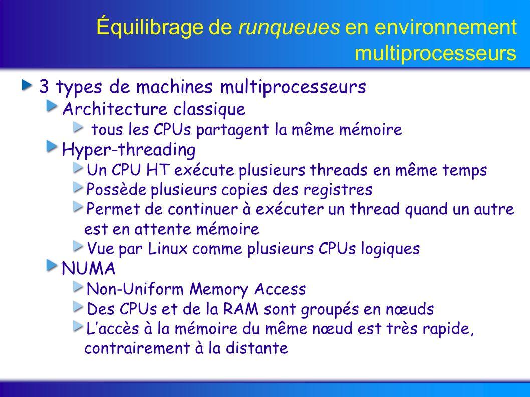 Équilibrage de runqueues en environnement multiprocesseurs 3 types de machines multiprocesseurs Architecture classique tous les CPUs partagent la même mémoire Hyper-threading Un CPU HT exécute plusieurs threads en même temps Possède plusieurs copies des registres Permet de continuer à exécuter un thread quand un autre est en attente mémoire Vue par Linux comme plusieurs CPUs logiques NUMA Non-Uniform Memory Access Des CPUs et de la RAM sont groupés en nœuds Laccès à la mémoire du même nœud est très rapide, contrairement à la distante