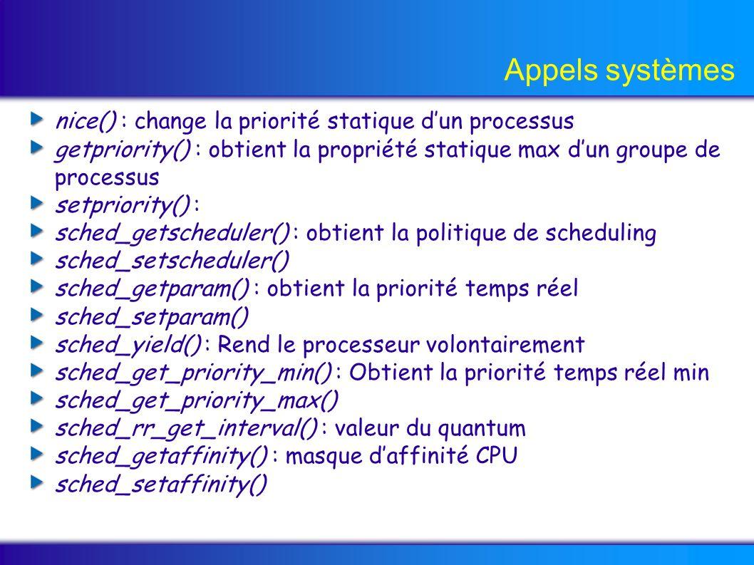 Appels systèmes nice() : change la priorité statique dun processus getpriority() : obtient la propriété statique max dun groupe de processus setpriority() : sched_getscheduler() : obtient la politique de scheduling sched_setscheduler() sched_getparam() : obtient la priorité temps réel sched_setparam() sched_yield() : Rend le processeur volontairement sched_get_priority_min() : Obtient la priorité temps réel min sched_get_priority_max() sched_rr_get_interval() : valeur du quantum sched_getaffinity() : masque daffinité CPU sched_setaffinity()