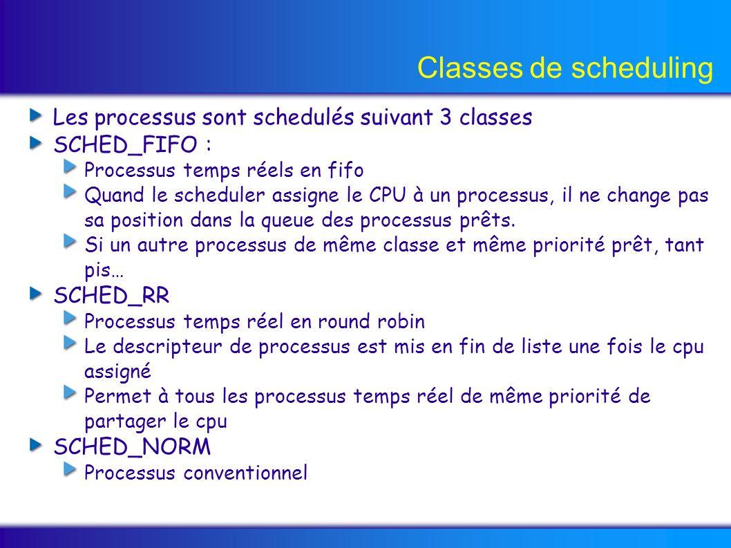 Classes de scheduling Les processus sont schedulés suivant 3 classes SCHED_FIFO : Processus temps réels en fifo Quand le scheduler assigne le CPU à un processus, il ne change pas sa position dans la queue des processus prêts.