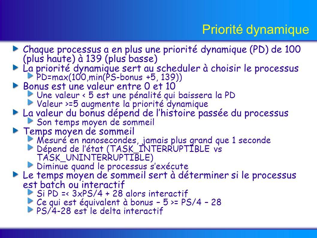 Priorité dynamique Chaque processus a en plus une priorité dynamique (PD) de 100 (plus haute) à 139 (plus basse) La priorité dynamique sert au scheduler à choisir le processus PD=max(100,min(PS-bonus +5, 139)) Bonus est une valeur entre 0 et 10 Une valeur < 5 est une pénalité qui baissera la PD Valeur >=5 augmente la priorité dynamique La valeur du bonus dépend de lhistoire passée du processus Son temps moyen de sommeil Temps moyen de sommeil Mesuré en nanosecondes, jamais plus grand que 1 seconde Dépend de létat (TASK_INTERRUPTIBLE vs TASK_UNINTERRUPTIBLE) Diminue quand le processus sexécute Le temps moyen de sommeil sert à déterminer si le processus est batch ou interactif Si PD =< 3xPS/4 + 28 alors interactif Ce qui est équivalent à bonus – 5 >= PS/4 – 28 PS/4-28 est le delta interactif