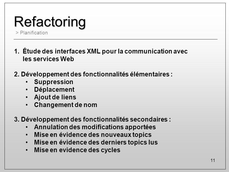 11 Refactoring > Planification 1.Étude des interfaces XML pour la communication avec les services Web 2. Développement des fonctionnalités élémentaire