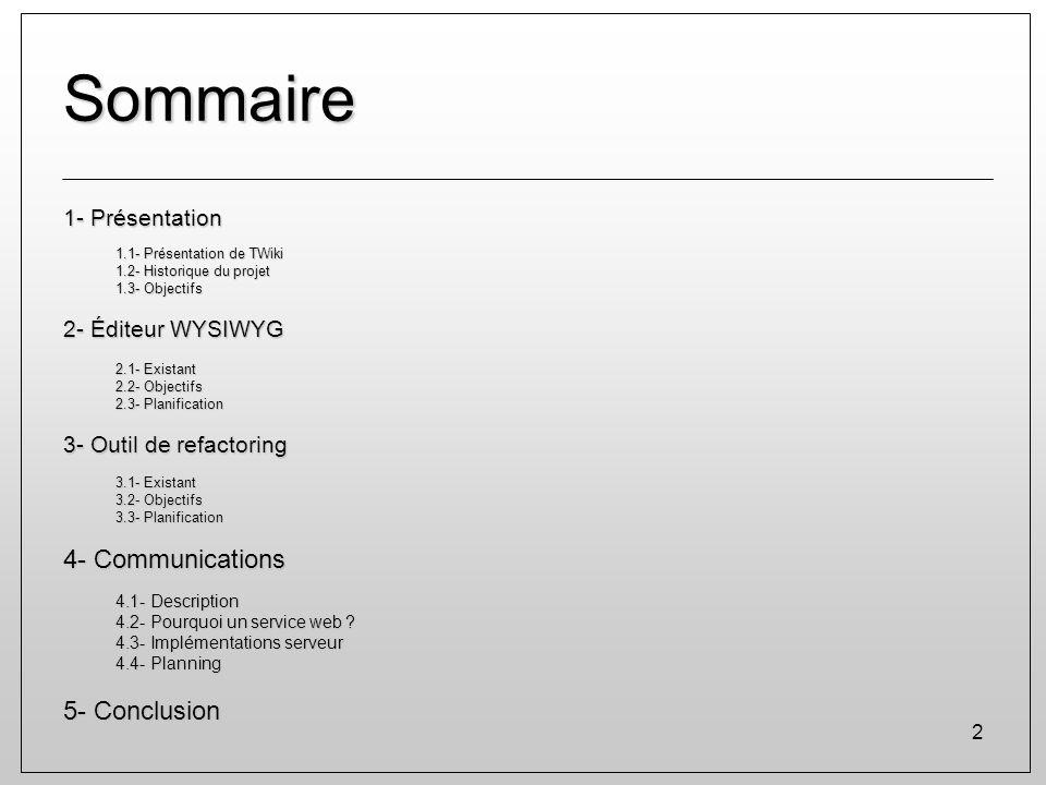 2 Sommaire 1- Présentation 1.1- Présentation de TWiki 1.2- Historique du projet 1.3- Objectifs 2- Éditeur WYSIWYG 2.1- Existant 2.2- Objectifs 2.3- Pl