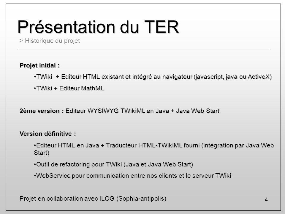 4 Présentation du TER > Historique du projet Projet initial : TWiki + Editeur HTML existant et intégré au navigateur (javascript, java ou ActiveX)TWik