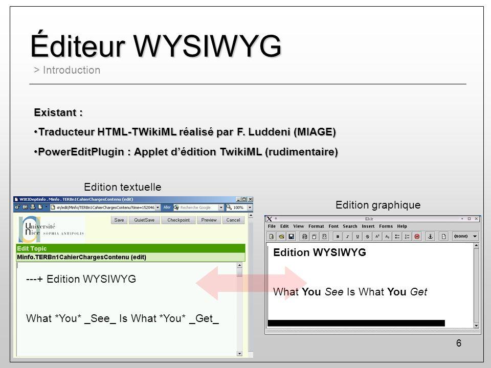 6 Éditeur WYSIWYG > Introduction Existant : Traducteur HTML-TWikiML réalisé par F. Luddeni (MIAGE)Traducteur HTML-TWikiML réalisé par F. Luddeni (MIAG