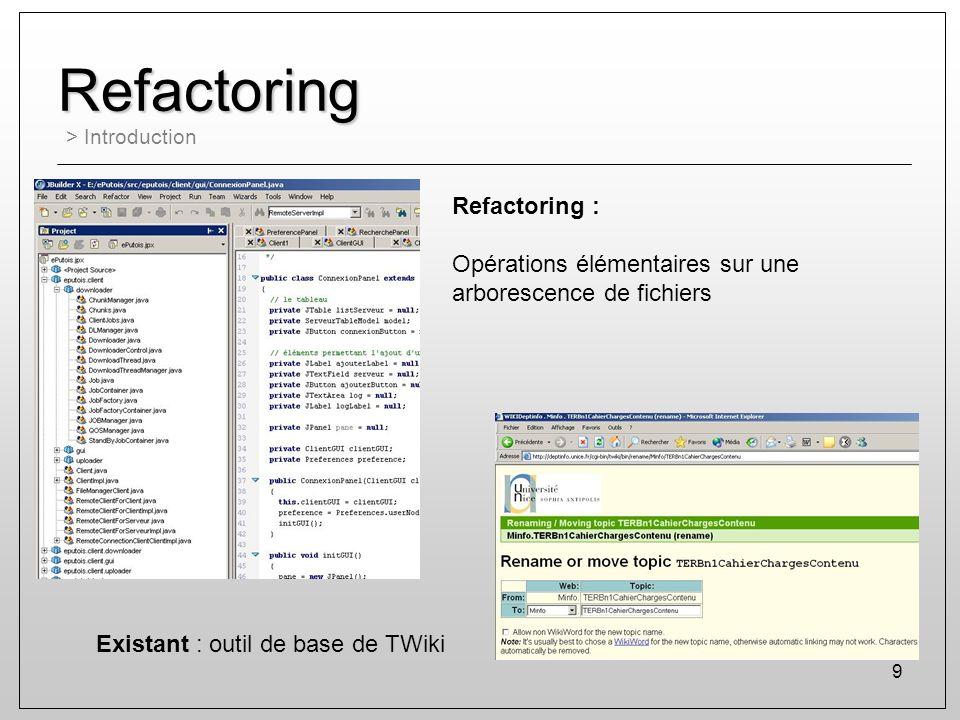 9 Refactoring > Introduction Existant : outil de base de TWiki Refactoring : Opérations élémentaires sur une arborescence de fichiers