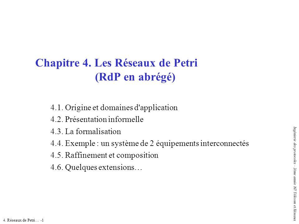4. Réseaux de Petri… -1 Ingénierie des protocoles - 2ème année N7 Télécom et Réseaux Chapitre 4. Les Réseaux de Petri (RdP en abrégé) 4.1. Origine et