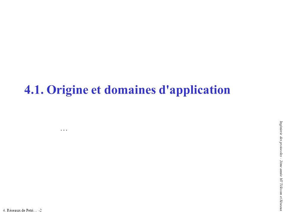 4. Réseaux de Petri… -2 Ingénierie des protocoles - 2ème année N7 Télécom et Réseaux 4.1. Origine et domaines d'application …