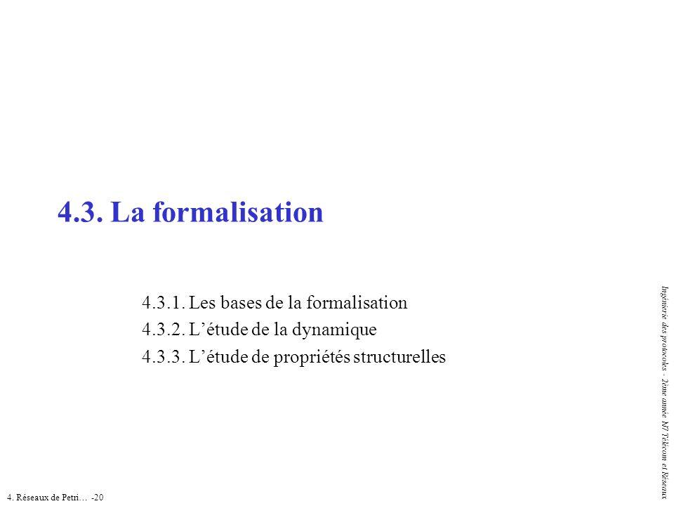 4. Réseaux de Petri… -20 Ingénierie des protocoles - 2ème année N7 Télécom et Réseaux 4.3. La formalisation 4.3.1. Les bases de la formalisation 4.3.2