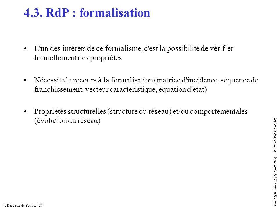 4. Réseaux de Petri… -21 Ingénierie des protocoles - 2ème année N7 Télécom et Réseaux 4.3. RdP : formalisation L'un des intérêts de ce formalisme, c'e
