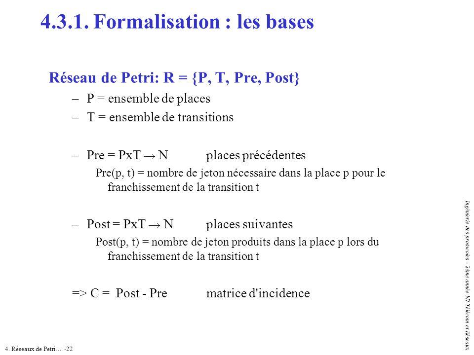 4. Réseaux de Petri… -22 Ingénierie des protocoles - 2ème année N7 Télécom et Réseaux Réseau de Petri: R = {P, T, Pre, Post} –P = ensemble de places –
