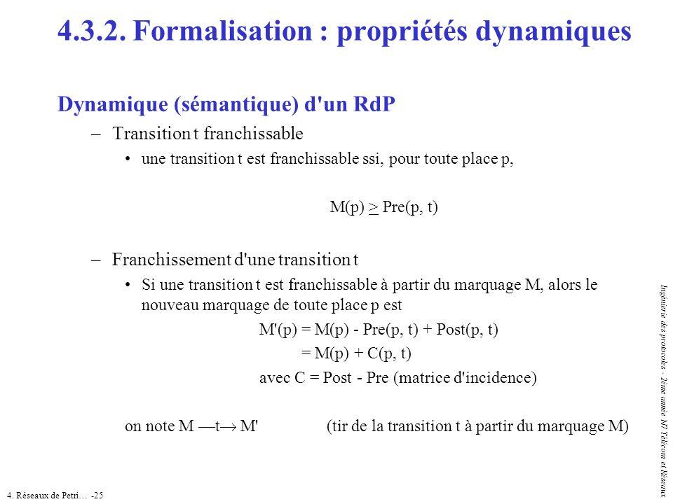 4. Réseaux de Petri… -25 Ingénierie des protocoles - 2ème année N7 Télécom et Réseaux Dynamique (sémantique) d'un RdP –Transition t franchissable une