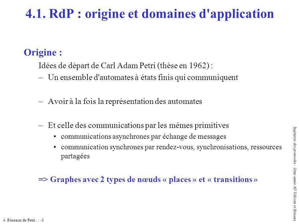 4. Réseaux de Petri… -3 Ingénierie des protocoles - 2ème année N7 Télécom et Réseaux 4.1. RdP : origine et domaines d'application Origine : Idées de d