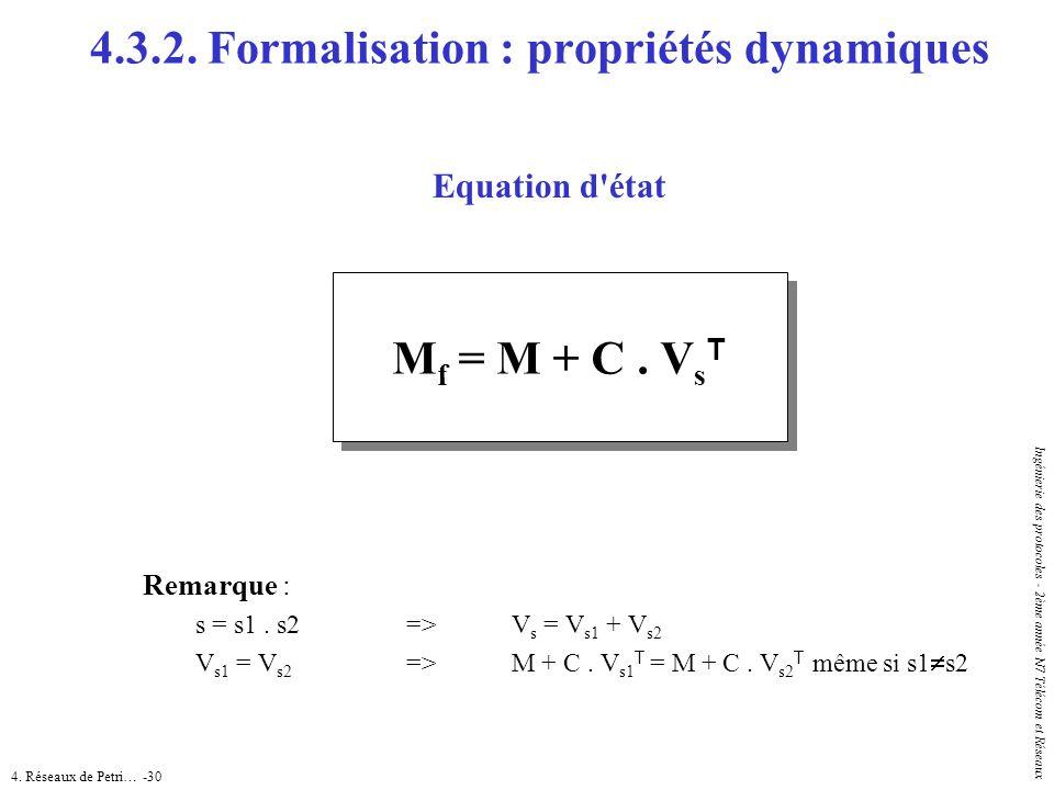 4. Réseaux de Petri… -30 Ingénierie des protocoles - 2ème année N7 Télécom et Réseaux 4.3.2. Formalisation : propriétés dynamiques Equation d'état Rem