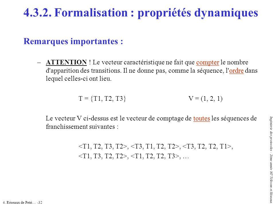 4. Réseaux de Petri… -32 Ingénierie des protocoles - 2ème année N7 Télécom et Réseaux 4.3.2. Formalisation : propriétés dynamiques Remarques important